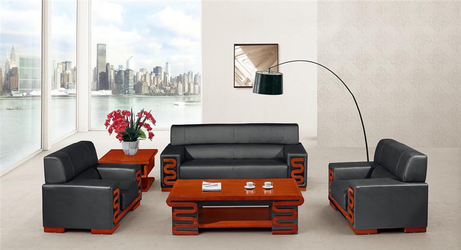 胡桃木沙发和茶几二合一组合家具产品大图