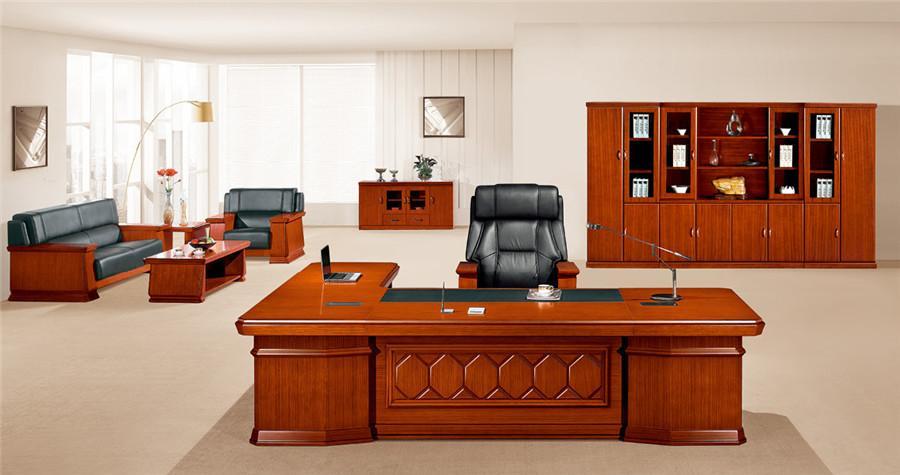 1.5米宽泰柚木L型实木办公桌产品大图