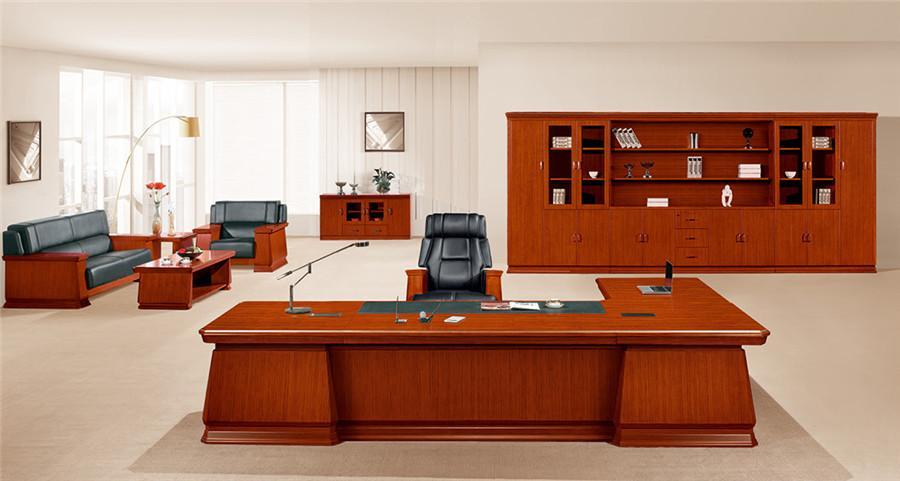 2.5米长棕色L型实木办公桌产品大图