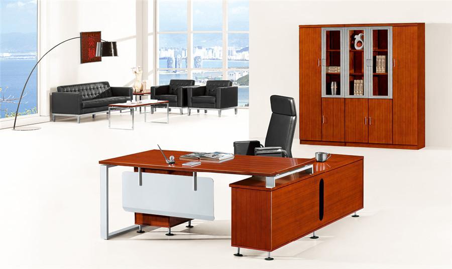 1米长胡桃色连柜实木办公桌产品大图