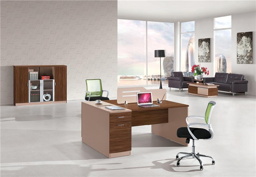 0.8米长棕色钢木结构带抽屉双人办公桌产品大图