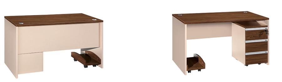 0.8米长棕色钢木结构带抽屉办公桌产品大图
