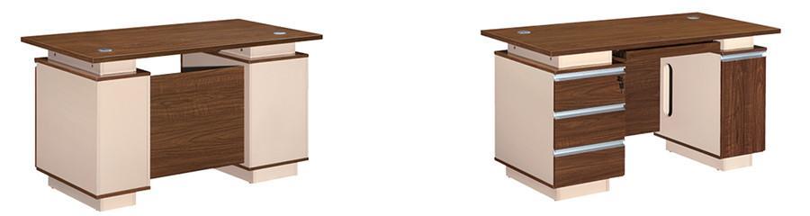 棕色钢木结构带书柜抽屉办公桌产品大图