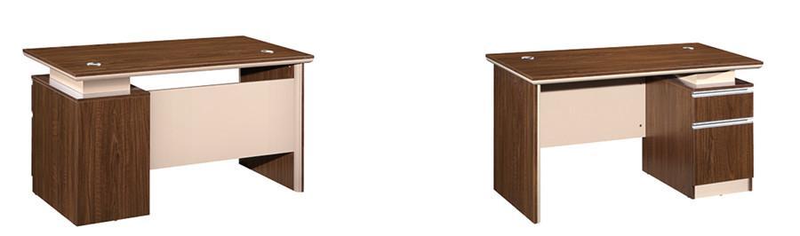 棕色钢木结构带抽屉独立办公桌产品大图