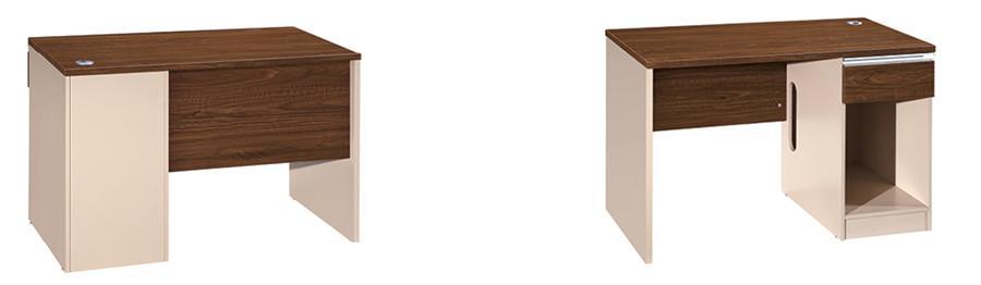 0.8米长棕色钢木结构独立办公桌产品大图