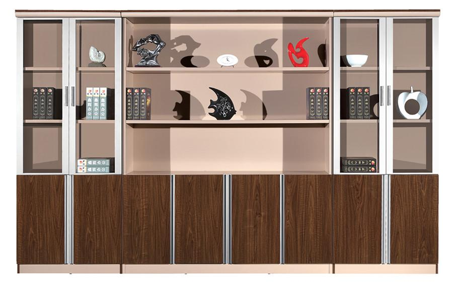 棕色钢木玻璃对称八门展示文件柜产品大图