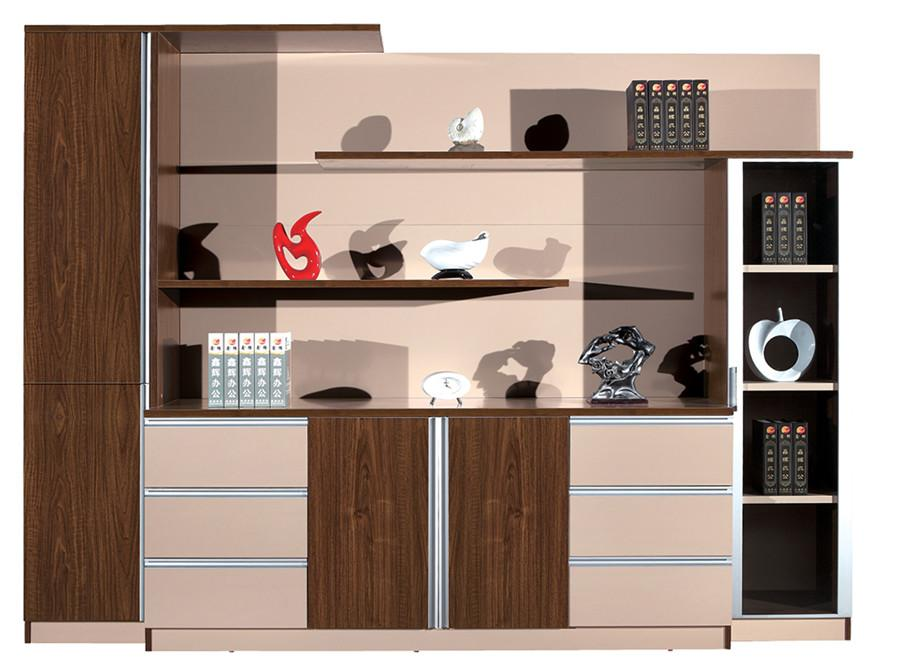 棕色钢木不规则时尚展示书柜产品大图