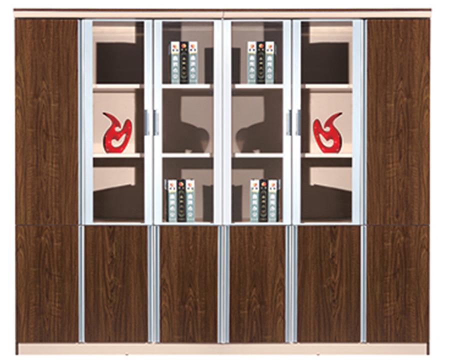 棕色六门钢木玻璃文件展示书柜产品大图