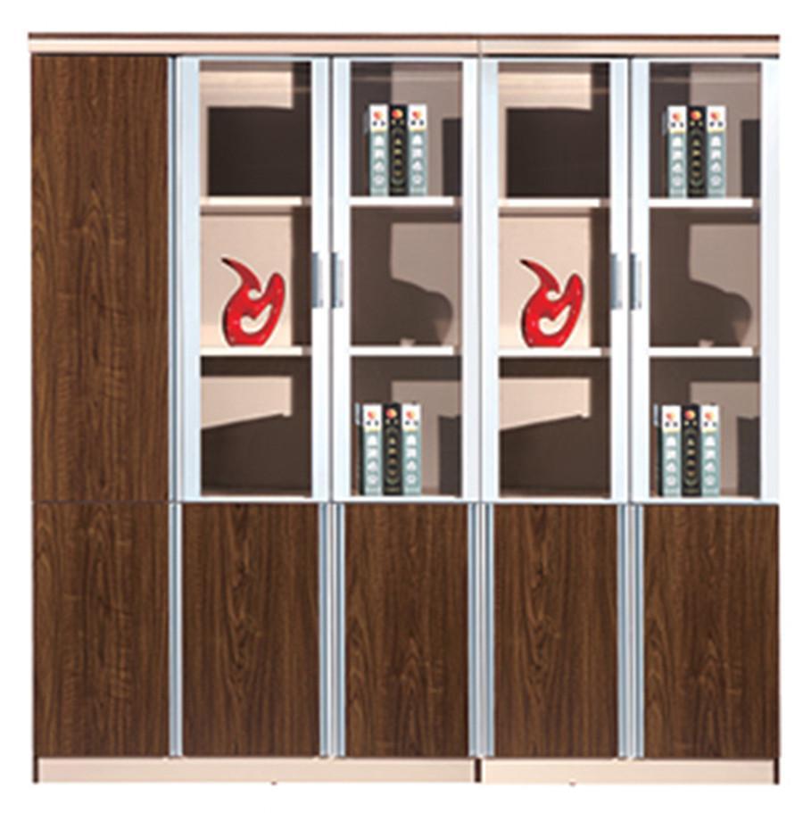 棕色钢木玻璃多门单边展示文件柜产品大图