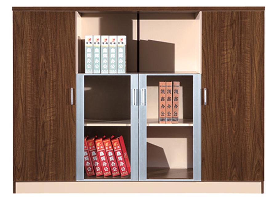 0.9米长棕色钢木玻璃带展示架双开门文件柜产品大图