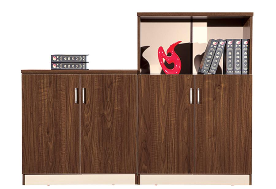 1米长棕色钢木结构四门带展示架文件柜产品大图