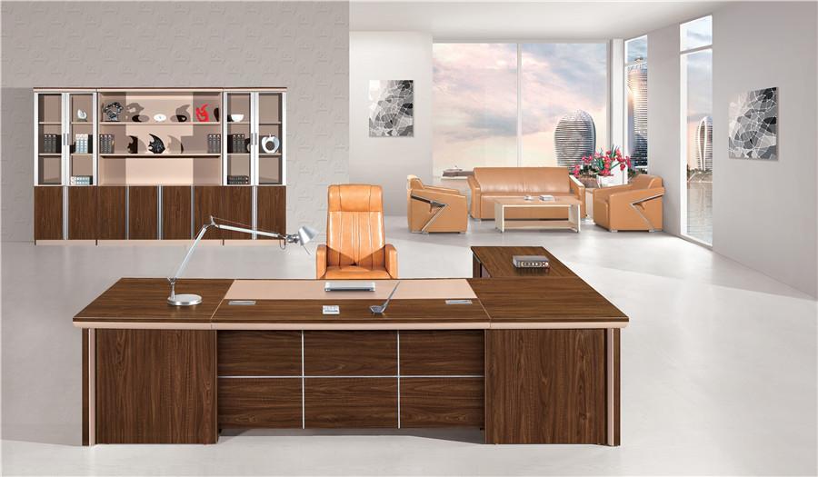 1.8米长胡桃色钢木L型办公桌产品大图