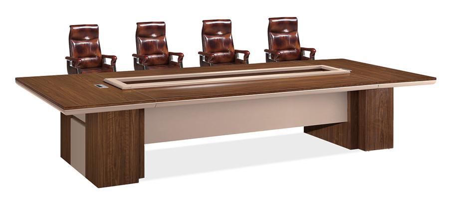 3米长棕色会议室专用办公桌实拍图.jpg