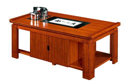 1米长泰柚木办公桌接待茶水柜实拍图.jpg