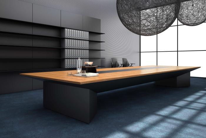 栗色油漆胡桃木实木板式办公桌现代简约风装饰效果图