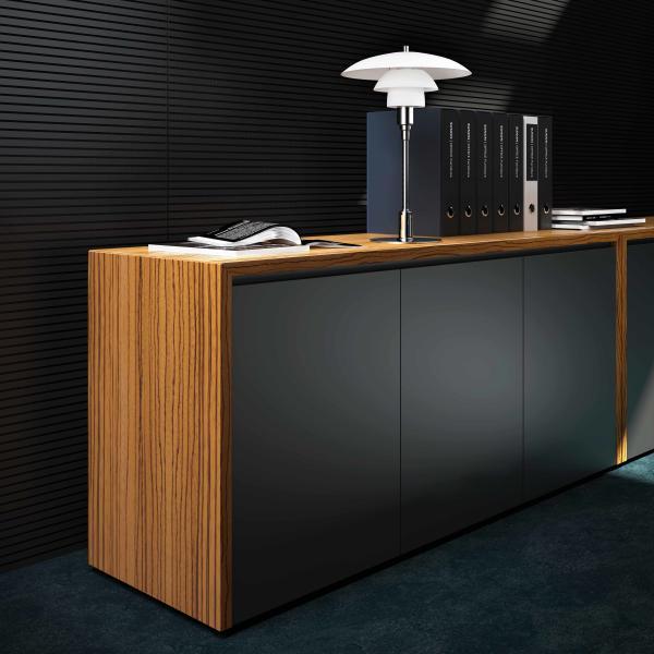 雅黄色油漆酸枝木实木办公桌现代简约风装饰效果图
