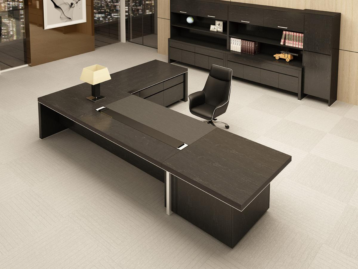 黑色泰柚木实木办公员工桌现代简约风装饰效果图