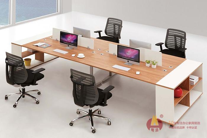 浅栗色团队办公桌板式办公家具.jpg