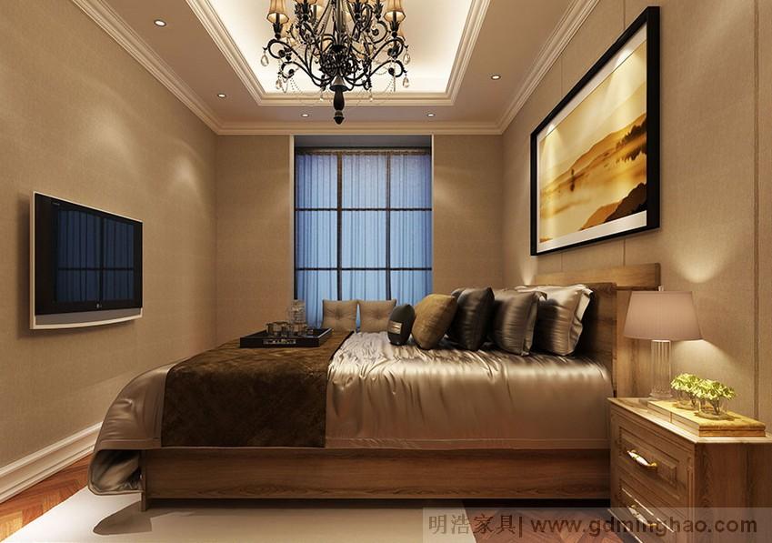 欧美风卧室原木家具定制床